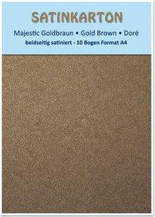 "DESIGNER BLÖCKE  / DESIGNER PAPER Kartenkarton A4, beidseitig satiniert, 250gr. / qm ""Majestic"" goldbraun"