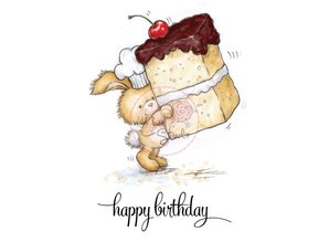 Wild Rose Studio`s A7 stamp set bunny with cake