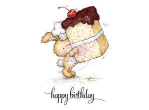 Wild Rose Studio`s A7 stamp set bunny with cake