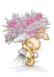 Wild Rose Studio`s A7 stempel sæt bunny med blomster