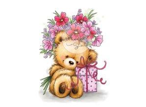 Wild Rose Studio`s A7 Stamp Set Teddy med gave
