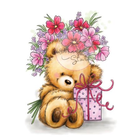 Wild Rose Studio`s A7 Stempel-Set Teddy mit Geschenk