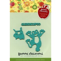Embossing and cutting template, happy frog