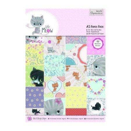DESIGNER BLÖCKE  / DESIGNER PAPER Bloques de papel A5 con 42 lado, Little Meow