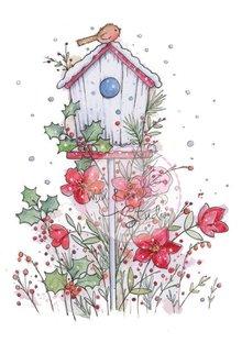 Wild Rose Studio`s A7 timbro set uccello casa