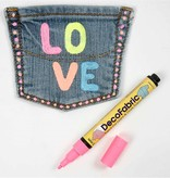 FARBE / INK / CHALKS ... Deco Stoffmalstifte - Sortiment , 3 Strichstärke, neonfarben, 6 sort.