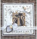 Marianne Design Corte y estampación plantillas Creatables, 2 lindo gato + Texto del sello