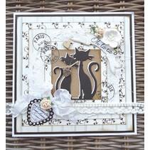 Corte y estampación plantillas Creatables, 2 lindo gato + Texto del sello