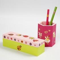 Bastelset: portalápices o caja de madera para pintar y decorar con pegatinas de brillo