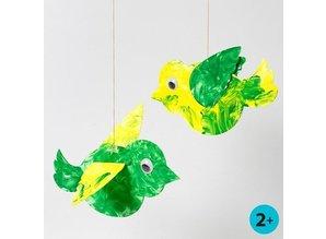 Bastelset: 50 Uccello, L: 25 cm, bianco + 50 Wackelaugen