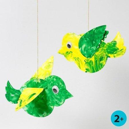 Bastelset: 50 Vogel, L: 25 cm, weiß + 50 Wackelaugen