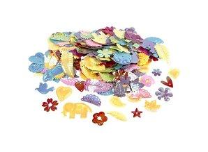 Kinder Bastelsets / Kids Craft Kits Bastelset: 16 Märchen Masken, H: 13,5-25 cm, 220 g + Paillettenmischung, Größe 15-45 mm