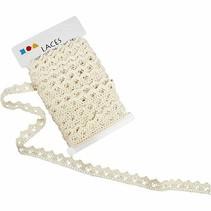 Crochet, B: 19 mm, cream, sold by the meter