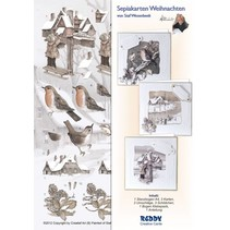 Sepia Cards Christmas Craft Kit Staf Wesenbeek quadr. Mailbox, Robin