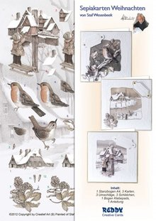 BASTELSETS / CRAFT KITS: Sepia Cards Jul Craft Kit Staf Wesenbeek quadr. Postkasse, Robin