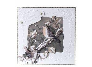 BASTELSETS / CRAFT KITS: Sepia Cards Jul Craft Kit Staf Wesenbeek quadr. Postkasse, Robin