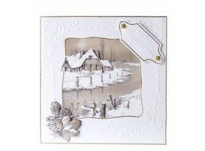 BASTELSETS / CRAFT KITS: Sepia Cards Christmas Craft Kit Staf Wesenbeek quadr. Mailbox, Robin