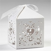 12 Decorative Box, 5,3x5,3 cm, white, with heart
