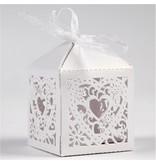 Dekoration Schachtel Gestalten / Boxe ... 12 Dekorative Box, 5,3x5,3 cm, hvid, med hjerte