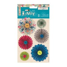 "Embellishments / Verzierungen 6 pinwheels decorated with buttons ""Sew Lovely"""