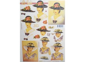 Bücher und CD / Magazines 3D buch A5, Damen mit Hut