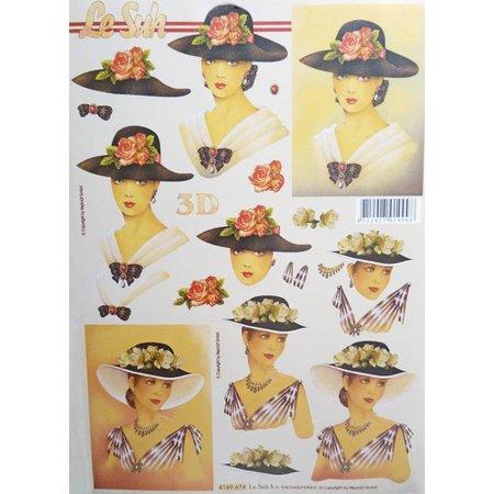 Bücher und CD / Magazines 3D Book A5, women with hat