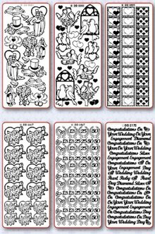 Sticker Stickerset: 6 differenti adesivo decorativo, Tema: matrimonio, amore