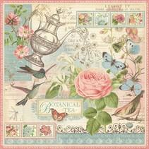 """Designer papir """"Botanisk te"""", 30,5 x 30,5 cm"""