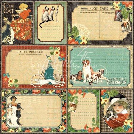 "Graphic 45 Designerpapier ""Raining Cats and Dogs -Four-Legged Friend"", 30,5 x 30,5cm"