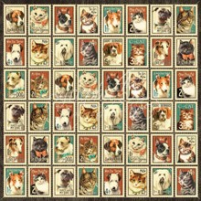 "Graphic 45 Designer Paper ""Raining Cats and Dogs - Mr. Whiskers"", 30.5 x 30.5 cm"