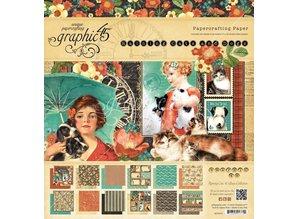 "Graphic 45 Designerblock ""Raining Cats and Dogs"", 30,5 x 30,5cm"
