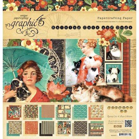 """Graphic 45 Diseñadores bloquean """"lloviendo gatos y perros"""", 30,5 x 30,5 cm"""