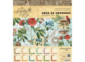 """Graphic 45 Designere blok """"Tid til at blomstre - Kalender"""", 20 x 20 cm"""