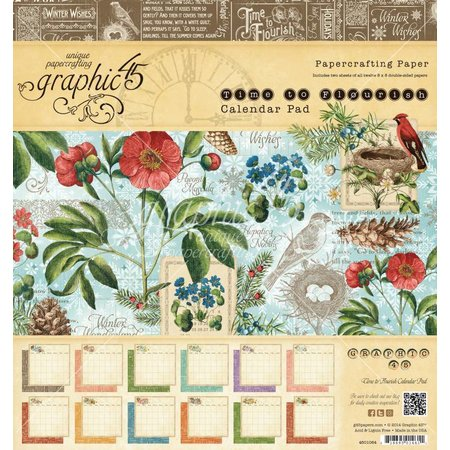"Graphic 45 Designerblock ""Time to Flourish - Calendar"", 20 x 20 cm"
