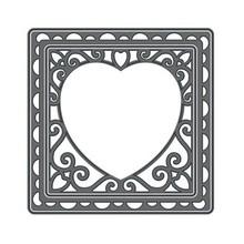 TONIC Tonic, presning og prægning stencil, Firkant med hjerte, Punch base, 2 skabelon