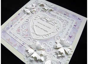 TONIC Tonic, stamping and embossing stencil, Square with heart, punch base, 2 template