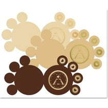 3 DeLuxe paws kort, guld-lamineret, brun, beige, creme