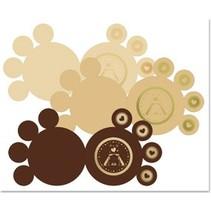 3 DeLuxe Pfotenkarten, gold-laminiert, braun, beige, creme