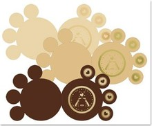 KARTEN und Zubehör / Cards 3 DeLuxe paws cards, gold-laminated, brown, beige, cream