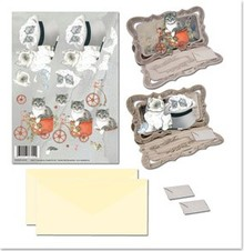 BASTELSETS / CRAFT KITS: Bastelset notecards med dyremotiver kat