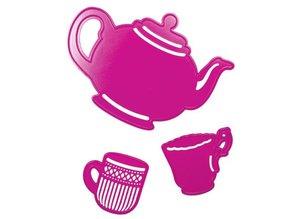 Joy!Crafts und JM Creation Stanz- und Prägeschablone, Teekanne groß, Becher