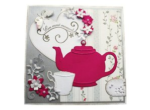 Joy!Crafts und JM Creation Stamping and embossing stencil, large teapot, cup