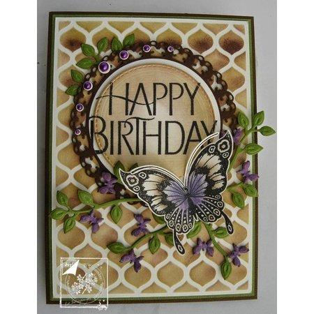 Joy!Crafts und JM Creation Skæring og prægning stencil gren med sommerfugle