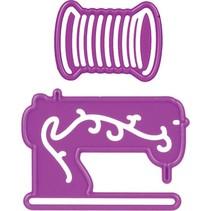 Stanz- und Prägeschablone, Nähmaschine und Garne