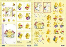 """BILDER / PICTURES: Studio Light, Staf Wesenbeek, Willem Haenraets 3D Stanzbogenset """"bunny, ænder og chick"""", 1 mønster ark og 1 udstanset ark, A4"""