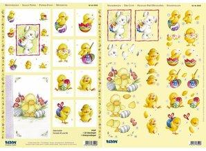 "BILDER / PICTURES: Studio Light, Staf Wesenbeek, Willem Haenraets 3D Stanzbogenset ""bunny, duck and chick"", 1 pattern sheet and 1 die cut sheet, A4"