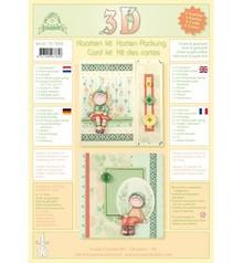 Leane Creatief - Lea'bilities Kort med kuverter - 3D kit Bambinie er - grøn / guld