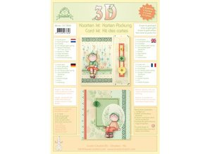 Leane Creatief - Lea'bilities Cards with envelopes - 3D kit Bambinie's - green / gold