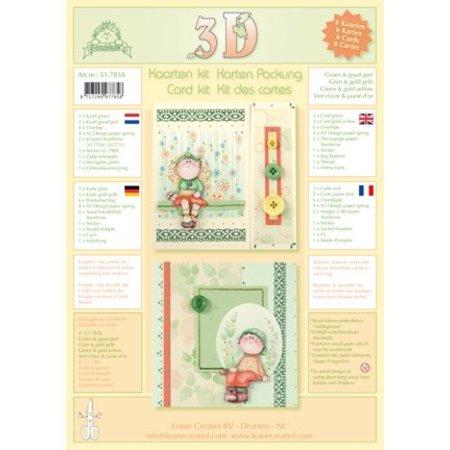 Leane Creatief - Lea'bilities Tarjetas con sobres - kit 3D del Bambinie - verde / oro