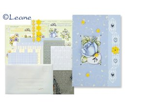 Exlusiv Card kit med blonder og blomstermotiver Stickers